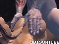 Busty 3D cartoon babe sucks cock with the addition of acquires fucked