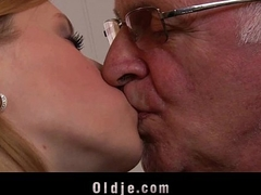 Horny college girl first time fucking old man do research blowjob cum licking