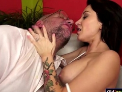 Russian Sandra Luberc is uglify a grandad and gives a bj