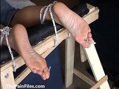 Extreme foot fetish coupled with feet needle s&m of grown-up amateur waiting upon girl in bitter m