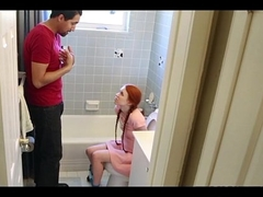 Tiny Redhead drilled hard wits fest friends Dad