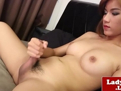 Redhead lady-boy stroking until jizz flow