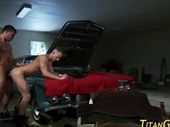 Hung cheerful jizz car muscled