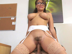 Cassidy Banks rides her boss with her hairy pussy