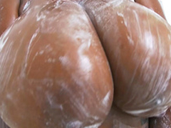 Rachel Raxxx gets her giant chest all soapy coupled with wet