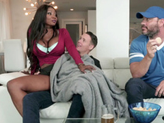 Diamond Jackson rides Justin Go out after reverse cowgirl style