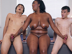 Ebony Milf Layton Benton gives a double cook jerking to Jordi El Nino Polla and Ricky Spanish