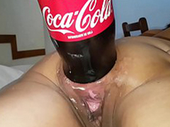XXXL Anal fizzy drink bottle having it away destruction