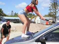 Hawt Latina smashes her boyfriend's car and fucks a stranger as A a revenge