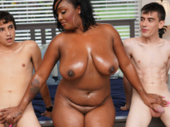 Ebony Mom Having Fun Just about Stepson and His Friend
