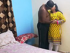 Indian university friend Shanaya aunty call on tap dwelling-place and surprised drilled by their way lover
