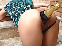 Ass Annihilation With Champagne Bottle / Fucking the brush bungle
