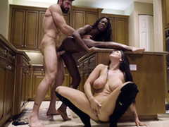Man nails black ungentlemanly Ana Foxxx space fully Romi Rain sucks his XXX cock