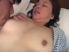 Asian granny enjoys triple fucking