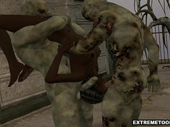 3D ebony babe double teamed minus by some zombies