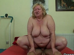 Juvenile lady's man with an increment of huge titted granny frivolity